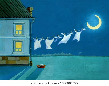 in the night from the window spread out laundry on the moon