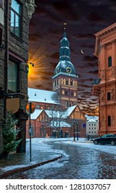 Night winter before Christmas near dome church in old Riga - the capital and largest city of Latvia, major cultural, historical and tourist center of Baltic region