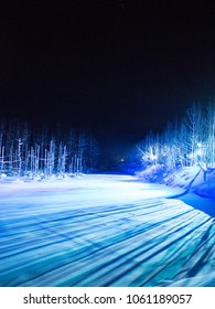 Night winter landscape of Blue Pond, Biei, Hokkaido, Japan