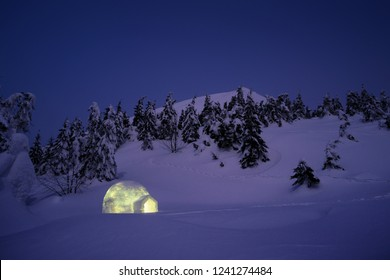 Night winter landscape with igloo snow. Adventure outdoors. Camping with shelter for winter hikers