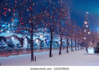 Night winter Moscow in the snow. Red square decorated for the New year.