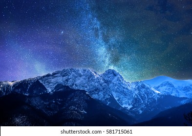 Night winter mountains panorama of Zakopane, High Tatra Mountains, Poland
