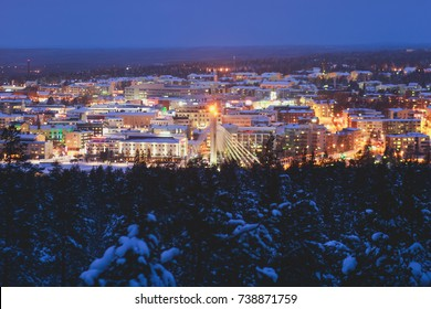 Night winter view of Rovaniemi city, Lapland, Finland