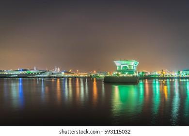Night Yokohama, Japan Osanbashi Pier is the main international passenger pier in Yokohama.