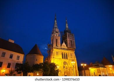 Night at Zagreb city is the capital of Croatia, Balkans - Shutterstock ID 1398376610