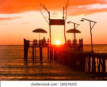 Nightfall by the Sea Way to Sunset