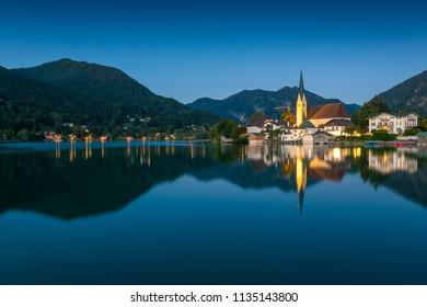 Nightfall at lake Tegernsee in the Alps of Bavaria