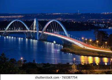 At nightfall the lights go on in Brasilia. The capital of Brazil. Night view of JK bridge.