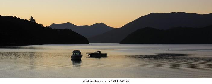 Nightfall in the Marlborough Sounds, New Zealand.