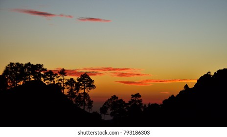 Nightfall in natural park of Pilancones, summit of Gran canaria, Canary islands