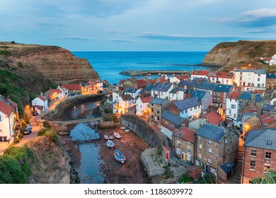 Nightfall over Staithes, a pretty fishing village on the Yorkshire coast