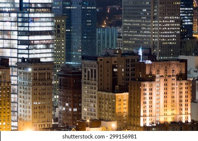 The nightime skyline of Pittsburg Pennsylvania.