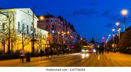 Nightlife of illuminated central Debrecen streets, Hungary