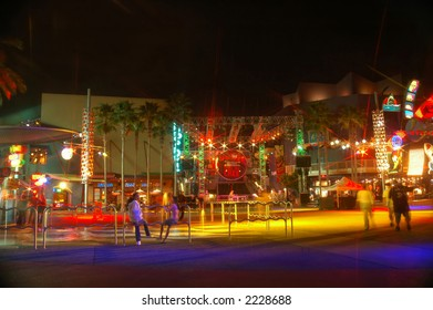 Nightlife, people at a night scene of an entertainment strip