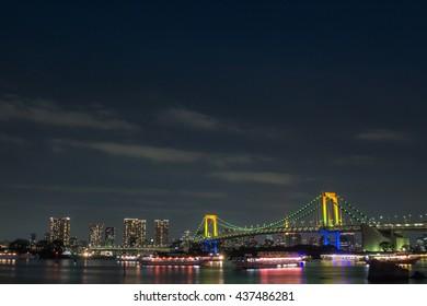 Nightlight at the Rainbow bridge in Odaiba, Japan.