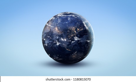 Nightly Earth globe on isolated blue background. Abstract wallpaper. Civilization. Elements of this image furnished by NASA