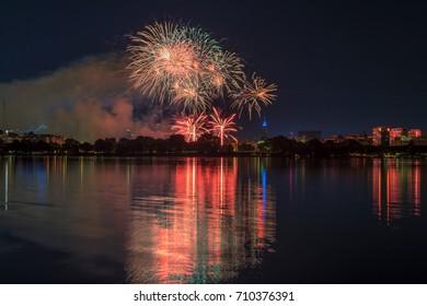 nightly panorama of Hamburg - Inner City with firework