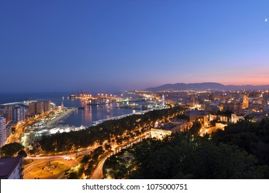 Nightly port of Malaga, Andalusia, Spain