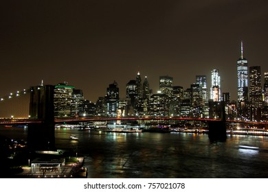 Nightly Skyline of NYC Downtown Manhattan with Brooklyn Bridge