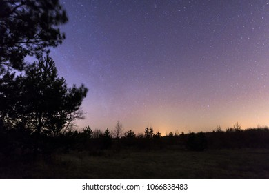 Nightly starry sky over the Spreewald in spring