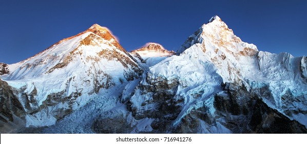 nightly view of Mount Everest, Lhotse and Nuptse from mount Pumo Ri base camp