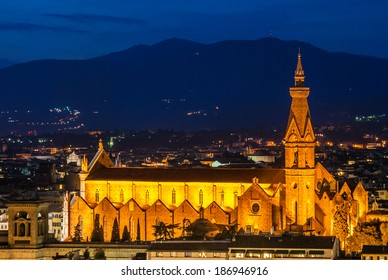 Nightly view of Santa Croce Church (Florence, Italy) taken from Piazzale Michelangelo at twilight