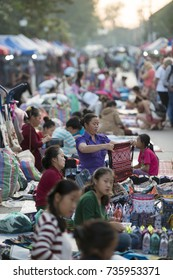 the nightmarket in the town of Luang Prabang in the north of Laos in Southeastasia, lao, luang prabang, november, 2017...
