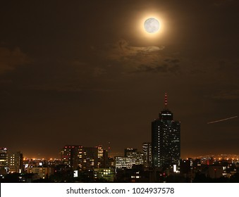 Nights in the city of mexico and blue blood moon phenomenon alone every hundred and fifty years
