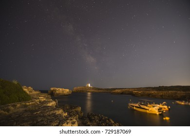 Nightscape in Alcalfar is a fishing village in Minorca island  Balearics Spain