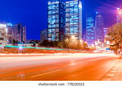 The nightscape of the architectural landscape and the light and
