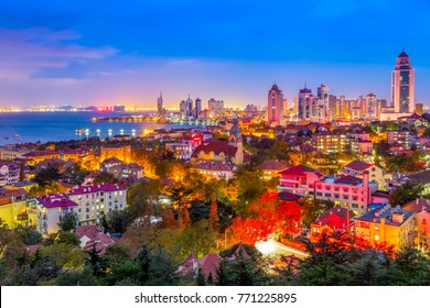 The nightscape of the beautiful city of Qingdao