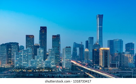 Nightscape of China's Beijing International Trade Business Circle