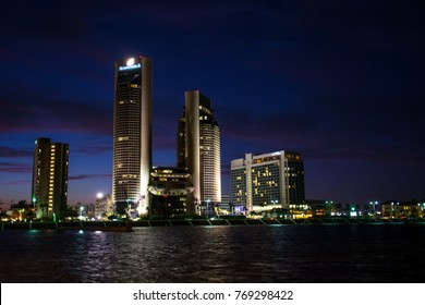 Nightscape Corpus Christi , Texas Skyline Cityscape at night twin towers and reflections on the water