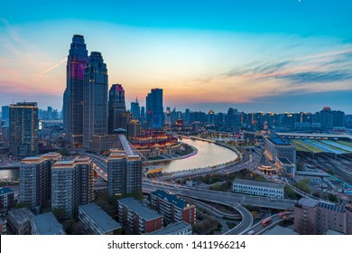 Nightscape of Haihe Commercial Circle, Tianjin, China, May 30, 2019