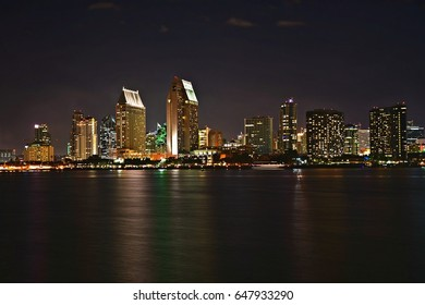 Nightscape with panoramic view of the San Diego Skyline in Southern California as seen from the Coronado Island Centennial Park.