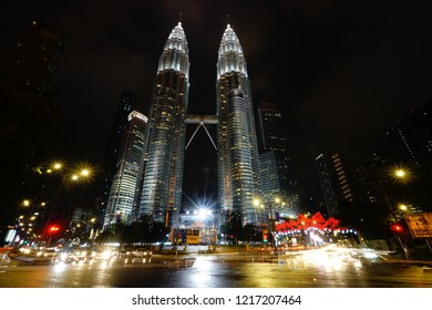 Nightscape of Petronas Twin Towers on October 2018 in Kuala Lumpur Malaysia. Petronas Twin Towers were the tallest buildings (452m) in the world during 1998-2004.