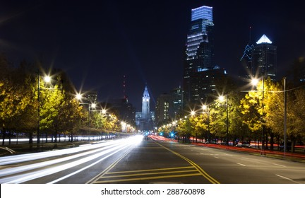 Nightscape of Philadelphia, Pennsylvania looking down the Benjamin Franklin Parkway towards center city and City Hall
