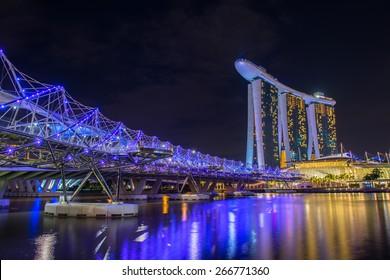Nightscape of Singapore downtown at Marina bay