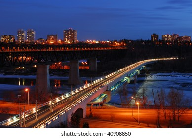 Nightshot of edmonton downtown, edmonton, alberta, canada