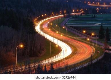 Nightshot of the S shape curve in fox drive, edmonton, alberta, canada