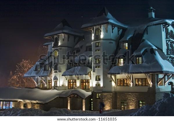 Nightshot Snowcovered Skiresort Hotel Termag Jahorina