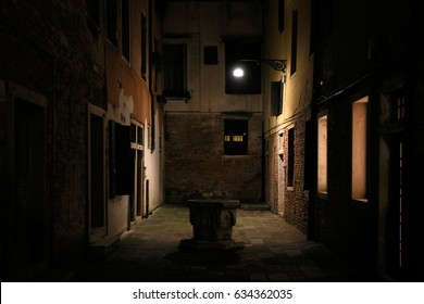 Nightshot of Venice with its canals and alleys in winter, Italy