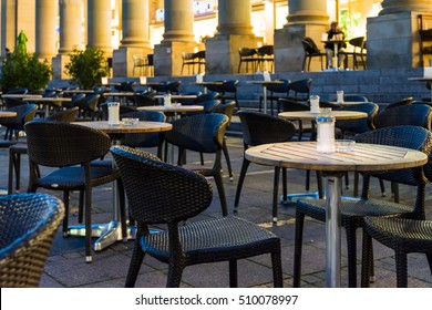 Nighttime Cafe Tables Afternoon Salt Ashtray Wooden Chairs Outdoors Restaurant Twilight Empty