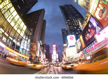 nighttime in the centre of times square, new york