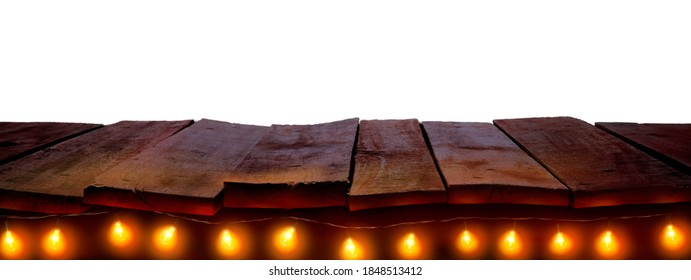 A nighttime Christmas, New Year wood tabletop template with fairy lights and white background to display products on. To add to a sunset nighttime scene.