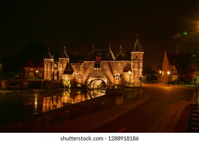 nighttime in the city centre of Amersfoort. historical buildings. 17 july 2016 - Amersfoort - Netherlands
