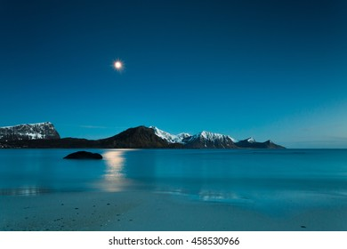 Nighttime at Haukland beach in Norway