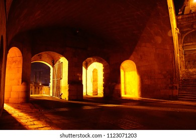 Nighttime illumination of fortifications of the Grand Harbor of Valletta, Malta