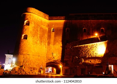 Nighttime illumination of fortifications of the Grand Harbor of Valletta, Malta