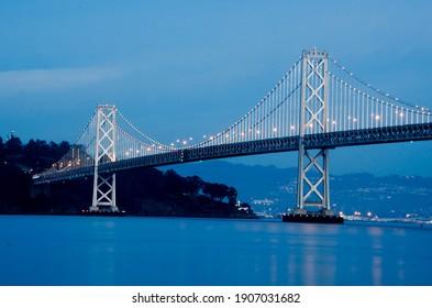 Nighttime image of Bay Bridge in San Francisco, California.